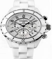 Chanel J12 Chronograph White Ceramic Mens Watch H1007