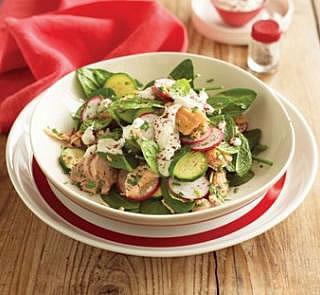 Salmon Salad with Tahini Dressing Recipe
