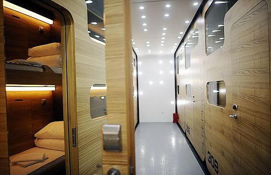 First Capsule Hotel with Fifty Windowless Pods Opens
