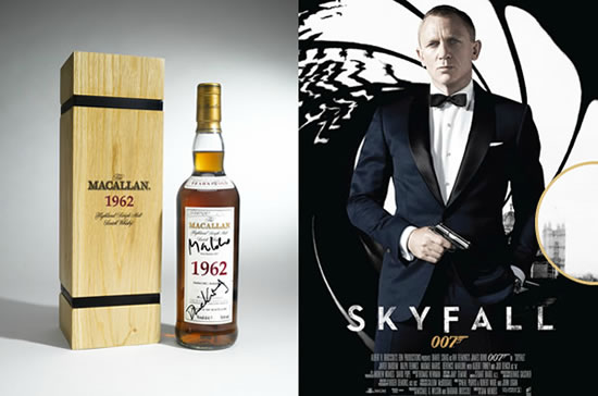 1962 Macallan Fine and Rare Bottle Signed by Skyfall Actors