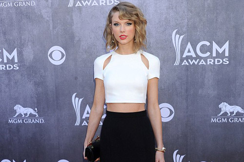 Taylor Swift  in a Sexy Crop top and Slit Skirt