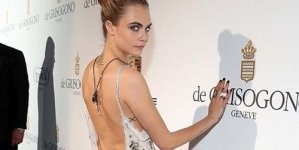 Cara Delevingne looks Sensational Beaded Chiffon Dress Scoop Cannes dinner Parting hard Suki