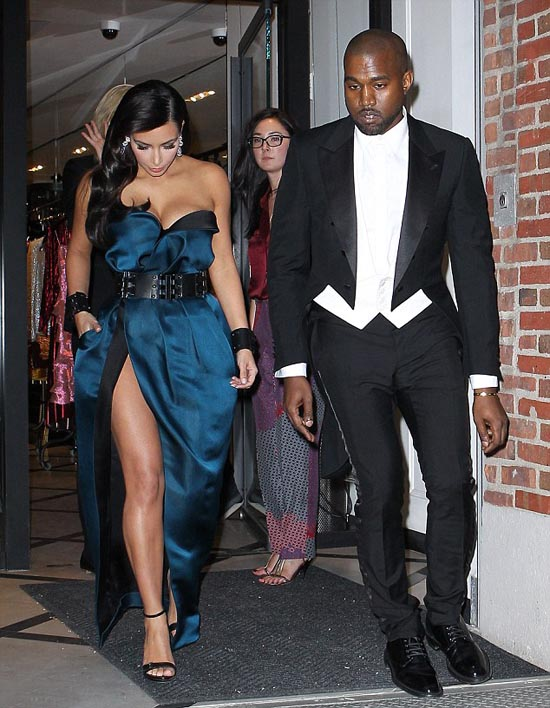 Kim Kardashian and Kanye West runing