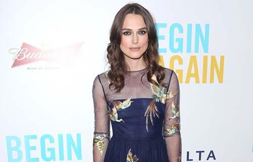 Keira Knightley Soars New Heights Bird Pattern Navy Gown Begin Again Premiere New York