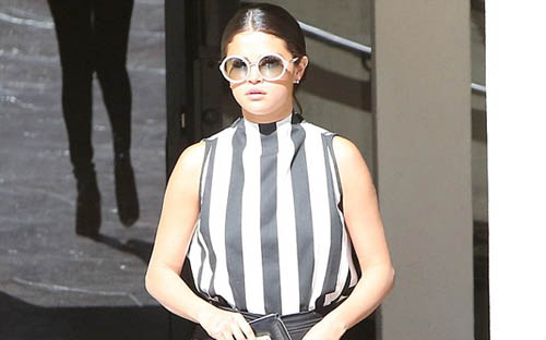 Selena Gomez Rocks In Specs and Stripes in LA