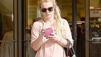Britney Spears in Peach Blouse and Towering Heels in LA