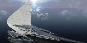 Futuristic TRIMARAN Yacht with Solar Panels