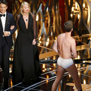 Neil Patrick Harris makes ill-timed joke delights crowd with Birdman moment in his Y-fronts