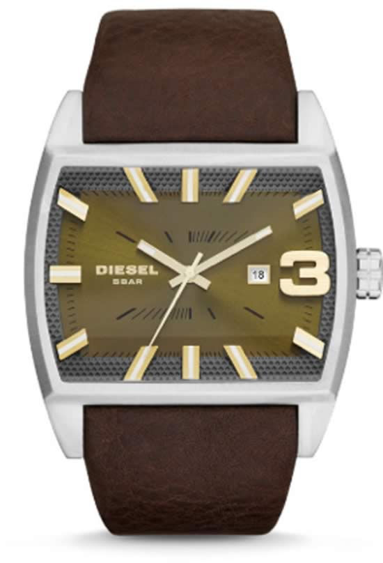 Diesel Green Dial / Textured Brown Leather Watch For Men