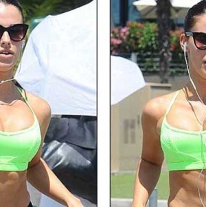 Jessica Lowndes Toned Abs in Sports Bra and Tight Leggings