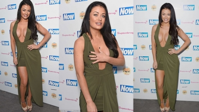 Jess Impiazzi Narrowly Avoids Spilling Out Of Low Cut Dress Summer Party