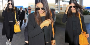 Kendall Jenner Displays Her Thin Pins in Tight Black Leggings