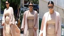 Kim Kardashian Showed Off Baby Bump in Skin Tight Dress