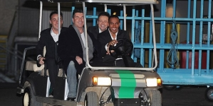 Simon Cowell Driven Around in 'Gold Buggy Cart'