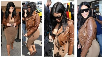 Pregnant Kim Kardashian Spotted at LAX in Beige Hugged Dress