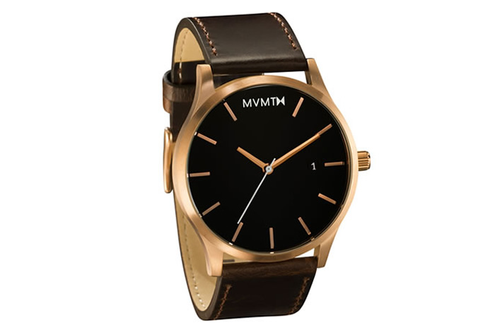 MVMT Rose Gold/Brown Leather Watch