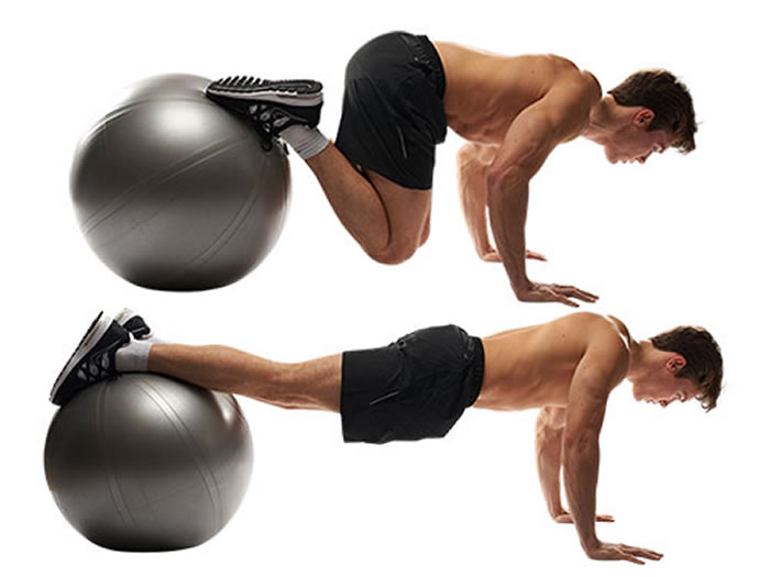 Stability Ball Knee Tucks