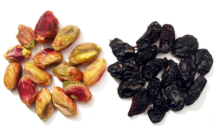 Pistachios and raisins