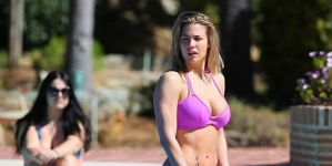 Gemma Atkinson Wears Tiny Pink Bikini While on Marbella Holiday