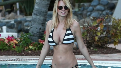 Rhian Sugden Puts Busty Display Skimpy Striped Bikini