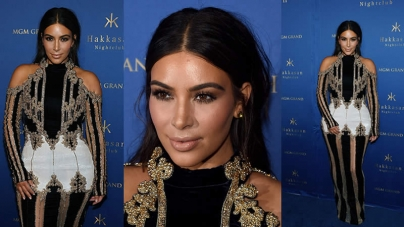 Kim Kardashian Rocks Messy Waves At Club Appearance In Vegas