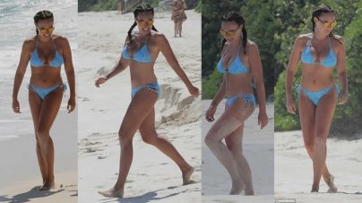 Tamara Ecclestone Hits the Beach in Aquamarine Bikini