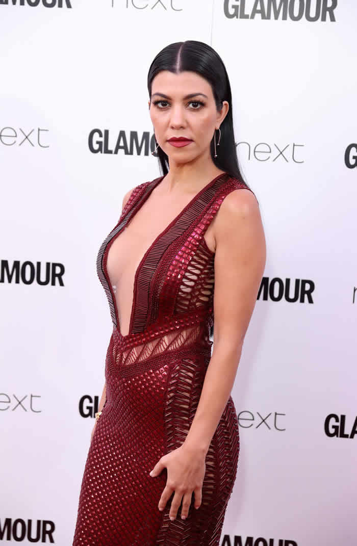 Kourtney Kardashian Cut Dress on the Red Carpet