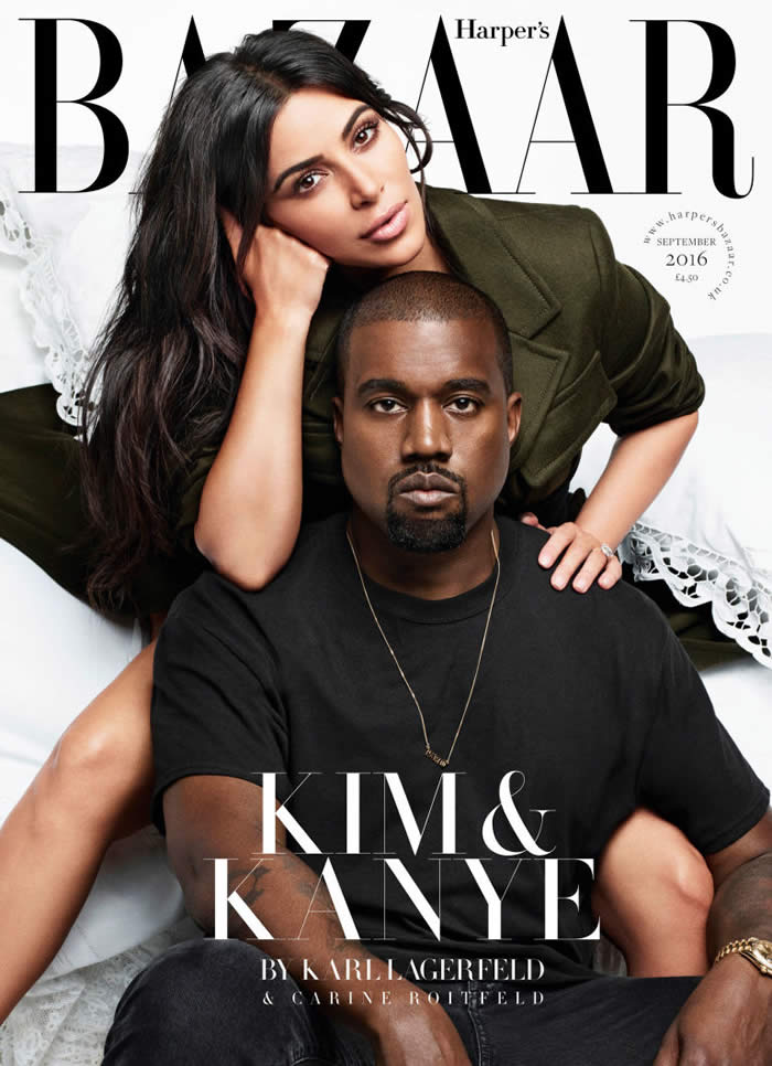 Kim Kardashian West and Kanye West on Harper's cover
