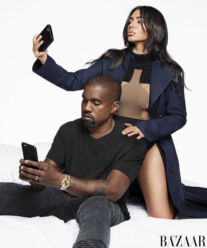 Kim Kardashian wears Valentino coat with Yeezy Season 3 bodysuit and turtleneck