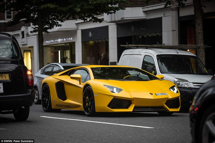 A bright yellow Lamborghini Aventador which can cost around £300,000, was pictured parked up in Mayfair yesterday