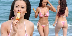 Ex On The Beach's Jess Impiazzi Dons a Tiny Pink Bikini On Holiday