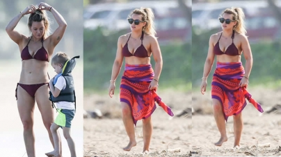Hilary Duff Shows Off Her Toned Torso In A Bikini