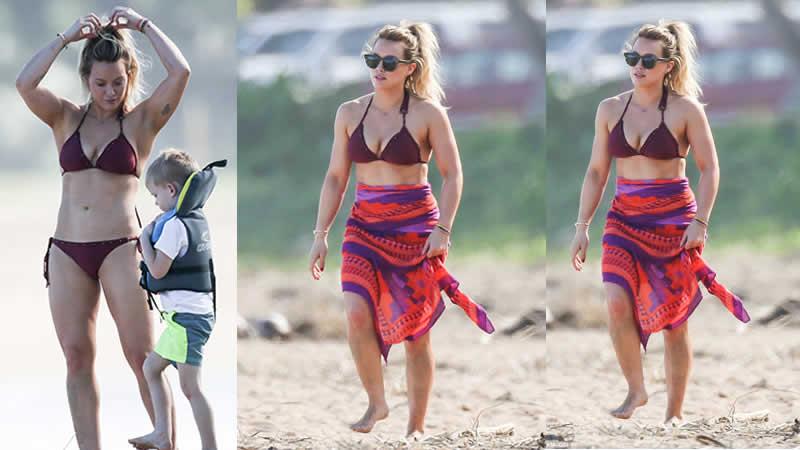 Hilary Duff Shows Off Her Toned Torso In A Bikini