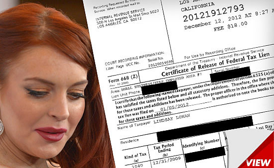 Lindsay Lohan Proof Paid off Taxes