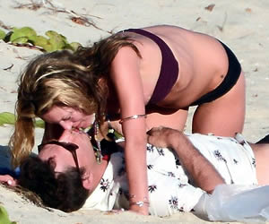 Kate Moss Passionately Kisses
