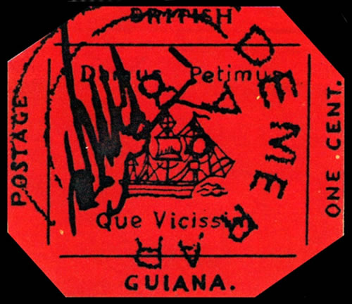 British Guiana 1 Cent Magenta Stamp