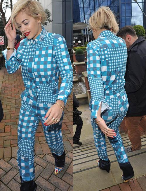 Rita Ora blue jumpsuit