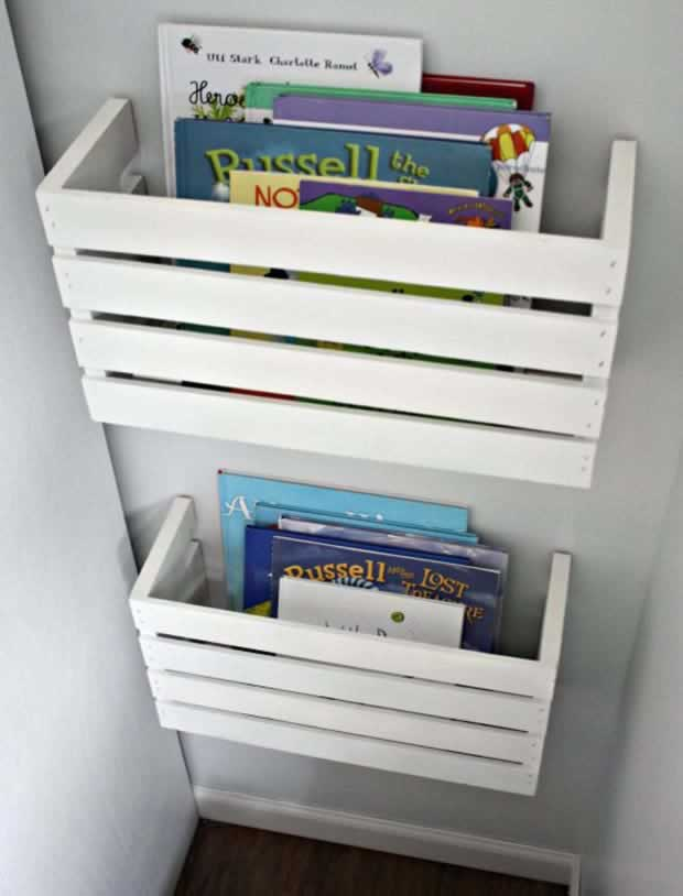 DIY CRATE BOOK STORAGE