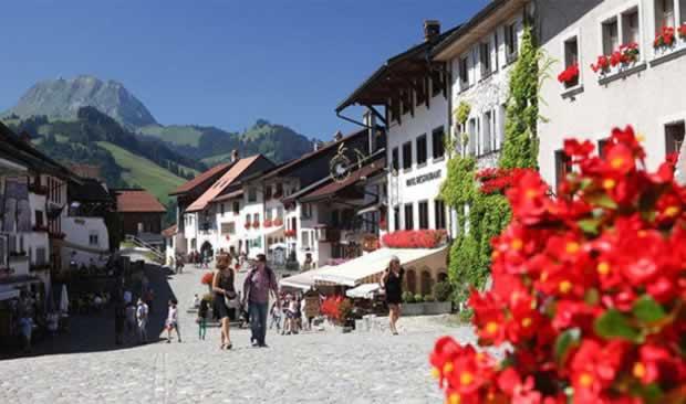 Small Beautiful town Gruyeres, Switzerland