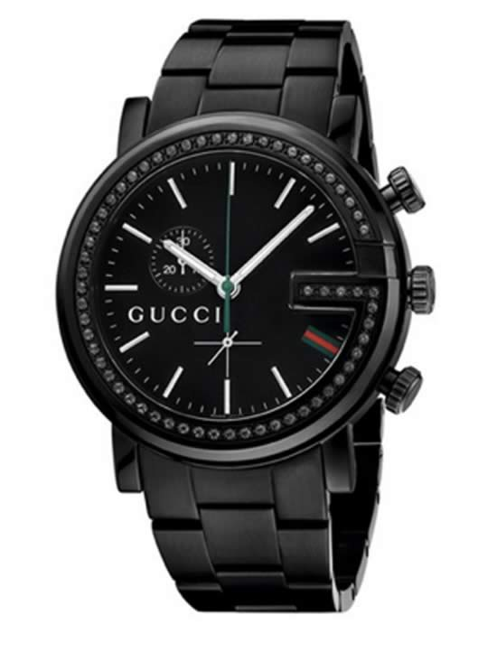 Gucci 'G Crono' Black Diamond Bracelet Watch For Men, 44mm