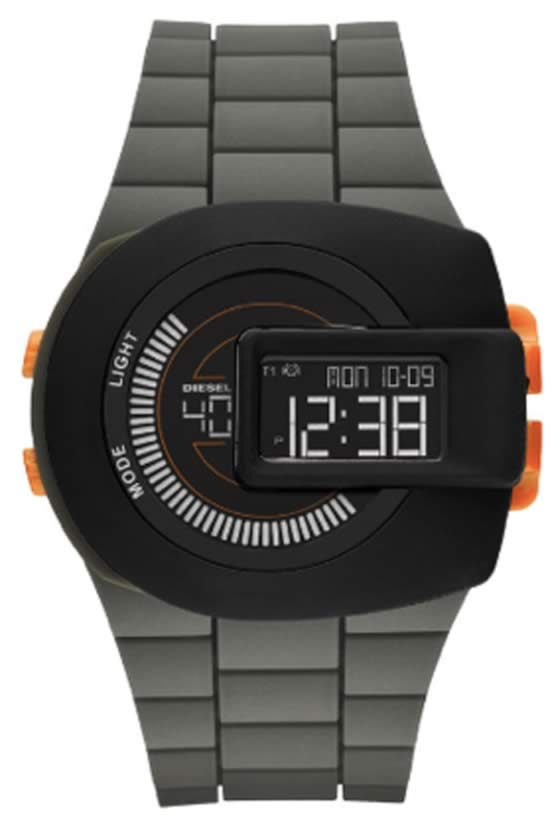 Diesel Deep Green & Orange Watch With View Finder