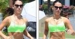 Jessica Lowndes neon green sports bra