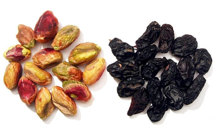 Pistachios and raisins