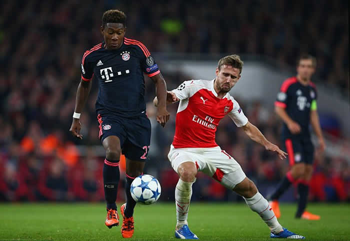 Bayern defender David Alaba (left) has been included in the team