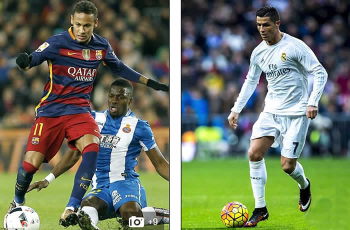 Messi is joined by team-mate Neymar (left) and Real Madrid's Cristiano Ronaldo in a forward front three