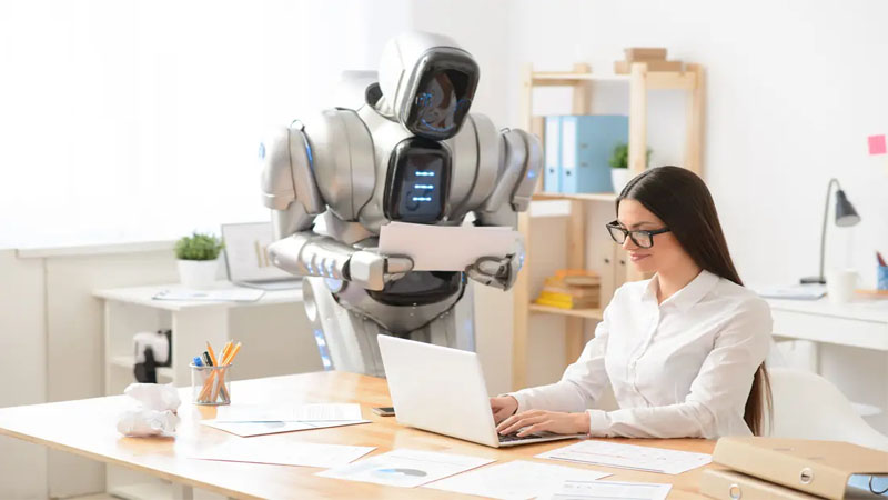 Robot at work place